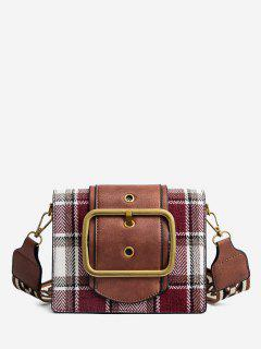 PU Leather Plaid Printing Straps Shoulder Bag - Red