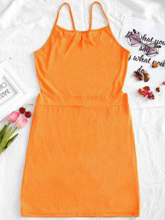 Open Back Cami Bodycon Dress - Orange M