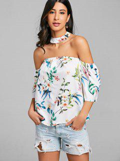 Off The Shoulder Printed Choker Top - White M