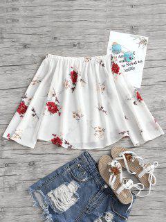 Schulterfrei Blumendruck Swing Bluse - Weiß L