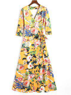 Vestido Ajustado Con Estampado Floral En Cuello V - Floral L