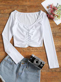 Camiseta Recortada De Manga Larga - Blanco L