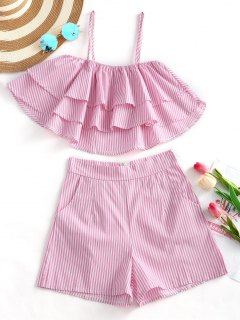 Striped Tiered Cami Top And Shorts Set - Pink M