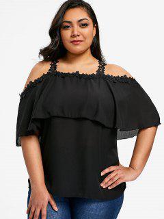 Flounce Plus Size Lace Trim Chiffon Top - Black 2xl