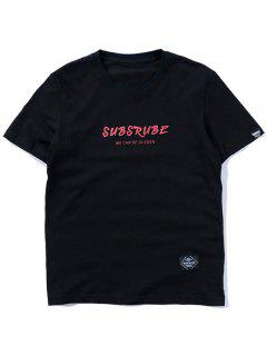 Casual Graphic Short Sleeve T-shirt - Black Xl