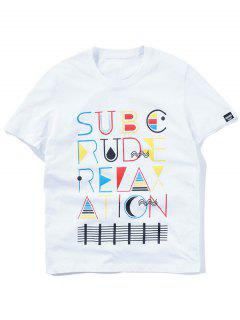 Kurzarm-buntes Grafik-T-Shirt - Weiß L