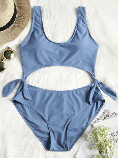 One Piece Tied Cut Out Plus Size Swimsuit - Ice Blue Xl