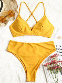 Plus Size Crosscross Bikini Top Und High Cut Bottoms - Senf 2xl