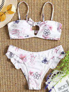 Cami Schnürung Blumen Rüschen Bikini Set - Weiß S