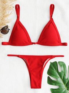 Geripptes Thong Bikini Set - Rot M