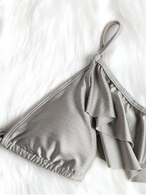Conjunto de bikini con hombros fruncidos y acolchados con volantes - Plata M Mobile