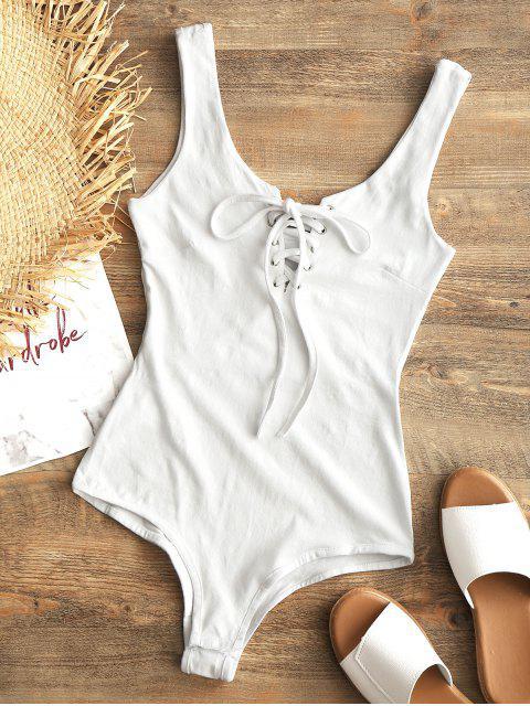 Druckknopf Lace Up Swim Bodysuit - Weiß M Mobile