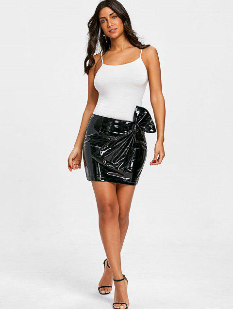 womens Bowknot Latex Mini Skirt - BLACK S Mobile