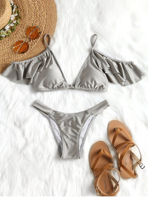Rüschen Padded Cold Shoulder Bikini Set - SILVER S Mobile