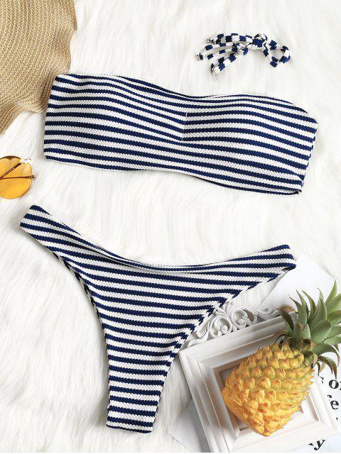 Bandeau Textur gestreifter Badeanzug - Streifen  L Mobile