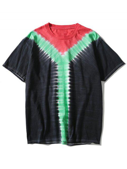 lady Tricolor Tie Dyed T-shirt - BLACK 3XL Mobile