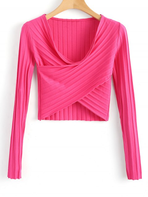 hot Cropped Cross Front Ribbed Top - ROSE RED L Mobile