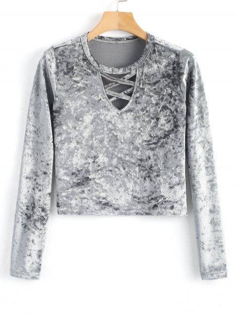 shops Long Sleeve Lattice Velvet Top - GRAY L Mobile