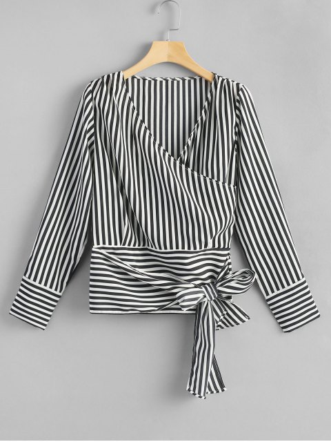 trendy Crossed Front Tie Striped Blouse - STRIPE M Mobile