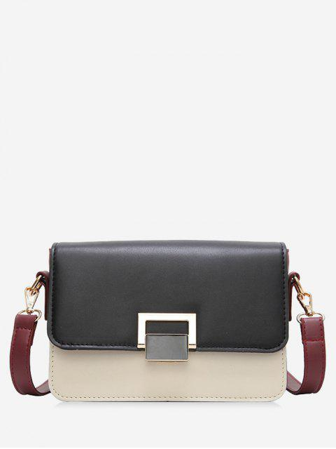 chic Contrasting Color Metal Crossbody Bag - BLACK  Mobile