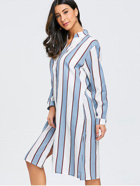 outfits Striped Oversized Long Shirt - BLUE AND WHITE AND RED XL Mobile