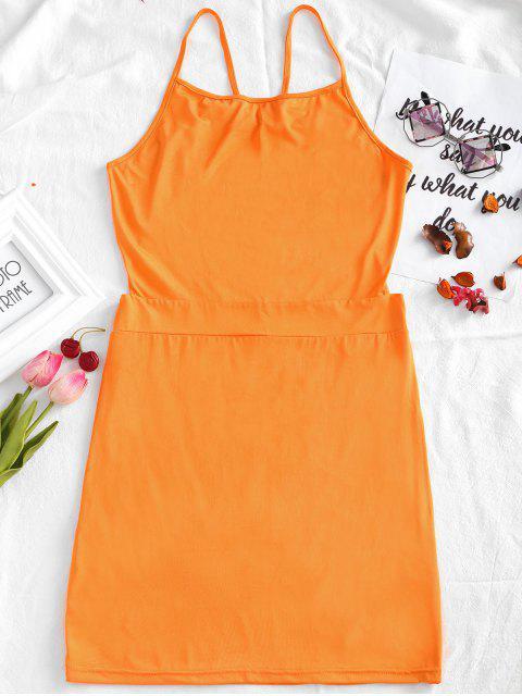 buy Open Back Cami Bodycon Dress - ORANGE M Mobile