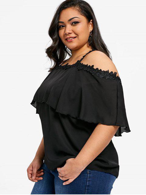 fancy Flounce Plus Size Lace Trim Chiffon Top - BLACK XL Mobile