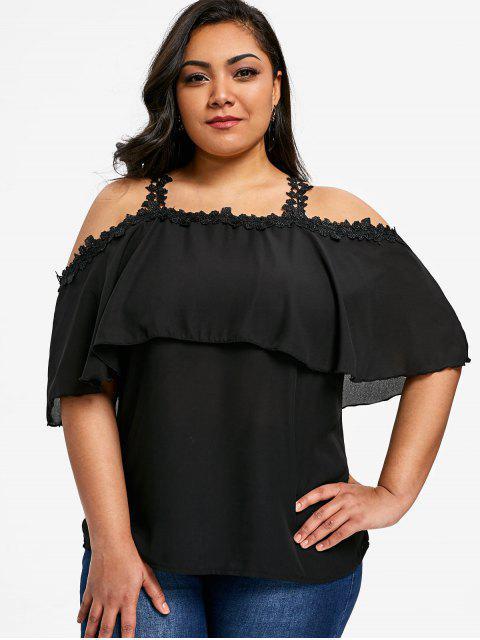 women Flounce Plus Size Lace Trim Chiffon Top - BLACK 5XL Mobile