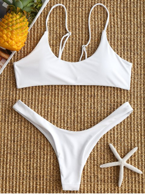 gepolsterthohe geschnitten Bikini Set - Weiß M Mobile