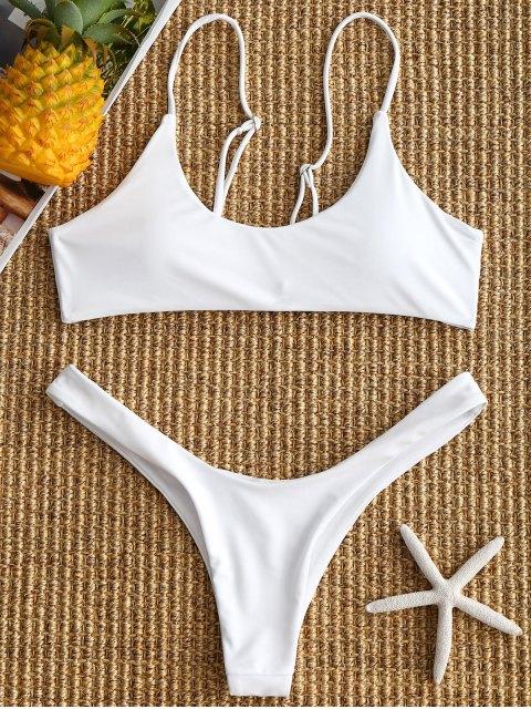 gepolsterthohe geschnitten Bikini Set - Weiß S Mobile