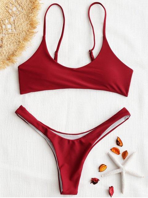 gepolsterthohe geschnitten Bikini Set - Rot L Mobile