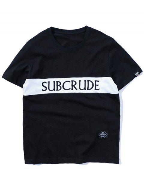 T-shirt brodé de lettre de couleur contrastée - Noir L Mobile