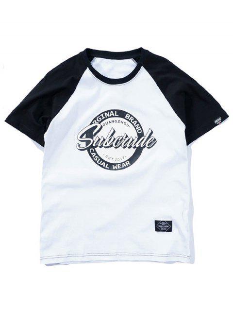T-shirt graphique à manches raglan et deux tons - Blanc L Mobile