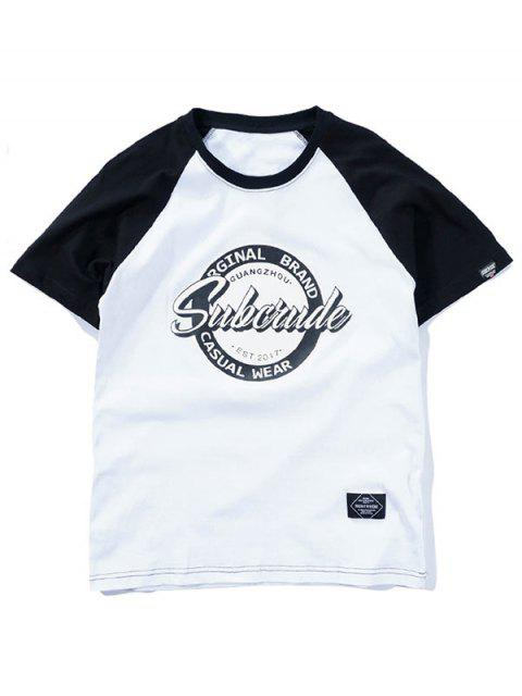 Camiseta estampada con manga raglán de dos tonos - Blanco L Mobile