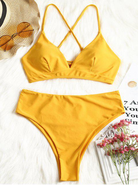 outfit Plus Size Crisscross Bikini Top and High Cut Bottoms - MUSTARD XL Mobile