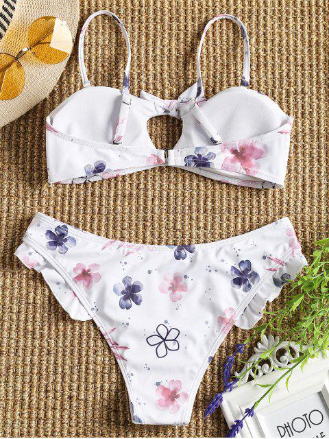 women Cami Tied Floral Ruffles Bikini Set - WHITE S Mobile