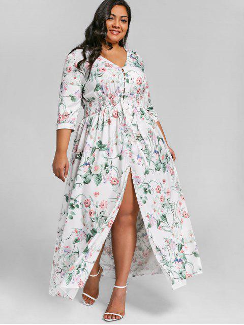 lady Button Up High Slit Plus Size Maxi Dress - FLORAL 5XL Mobile