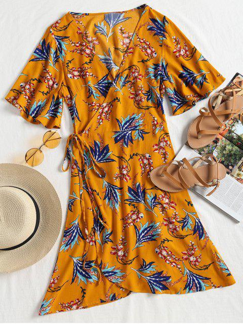 Kimono Sleeve Wrap Mini vestido floral - Mostaza S Mobile