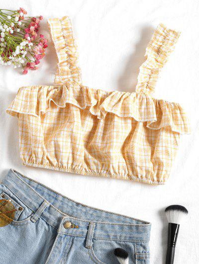 Zaful Cropped Plaid Ruffle Tank Top