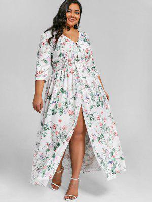 Button Up High Slit Plus Size Maxikleid