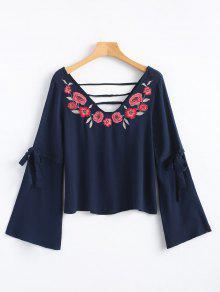 Purp Azul Recorte Floral Bordada Blusa Del wqgOxWzXtn