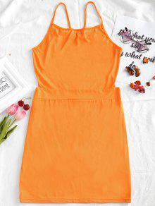 فستان ضيق كامي مفتوحة الظهر - البرتقالي L