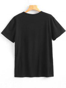 Camiseta Que Corta De Letra Mujeres L De Ensanchan 243;n De Impresi Negro Elegante Manga De La Redondo Cuello Las rArH7Xq4