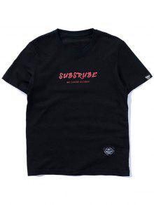 Estampado Manga Con Corta De Camiseta Informal 2xl Negro xv7qXET