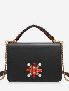 فو كريستال سلسلة جديلة حقيبة كروسبودي - أسود