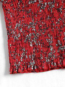 Sin Cosechada Rojo Mangas Floral Camiseta S Cortada URxpqUwd