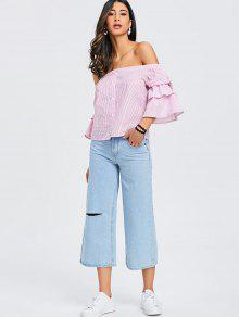 3fded38b2c05 57% OFF  2019 Ruffled Seersucker Off The Shoulder Top In PINK AND ...