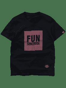 De 2xl Negro Camiseta Corta Estampada Fit Manga Slim 8UwPv1q