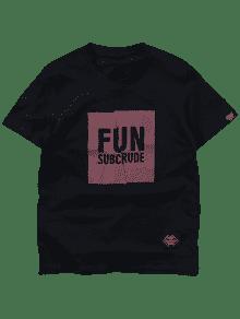 Manga 2xl Corta Fit Estampada Camiseta Slim De Negro EqZ70wSB