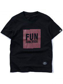Negro 2xl De Manga Fit Estampada Corta Camiseta Slim 0SOBfYwqq